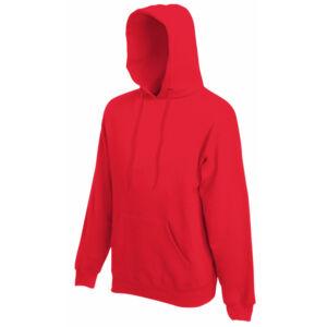 Fruit of the loom kapucnis pulóver piros színben