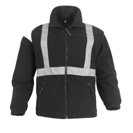 Coverguard Bodyguard II fekete munkavédelmi télikabát 4 az 1-ben, fényvisszaverő csíkkal