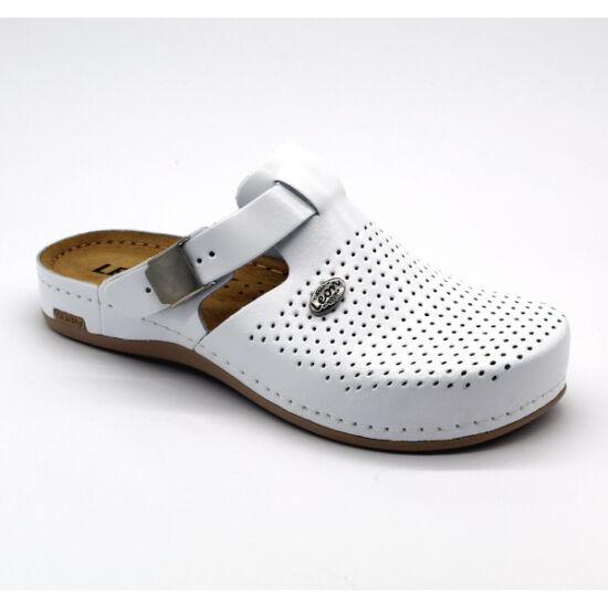 Leon 950 fehér színű munkavédelmi bőr papucs